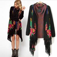 Fashion spring 2014 vintage tassel scarf collar female type cardigan sweater