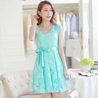 2014 summer one-piece dress slim gentlewomen medium-long lace chiffon one-piece dress