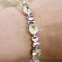 """Wholesale Fashion 925 Silver 6.8"""" Oval Cut Green Amethyst 925 Silver Bracelet Jewelry"""