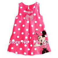 Retail  Free shipping Summer hot sale cartoon dot girl dress,children dress,kids dress