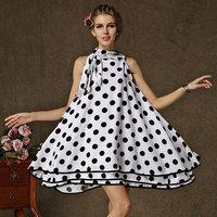 Dress Party Evening Elegant Dresses For Lady Polka Dot Print Size Plus Turtleneck Cute Bow A-Line Dress Loose knee-length 8135#