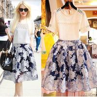 XL-5XL 2014 New Arrival Women's Sets Summer Fashion Beading T-shirt + Skirts Set Lady Free Shipping