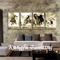 4-8301  100% hand painted oil painting home decoration wall art decoration chinese running horse painting good quality