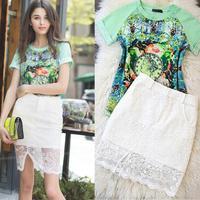 S M L 2014 New European Women's Sets Chiffon Shirt + Skirt Paris Fashion Cool Leisure Suit For Lady Free Shipping