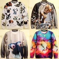 3D animal diamond print pullover sweatshirt hoodie sweater jacket  2014 new women's  men's three-dimensional  space galaxy