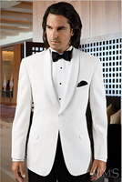 Men Suits For Wedding  Groom Dresses Men Tuxedo white Jacket and Pant Black Custom-made (jacket+pant+tie )
