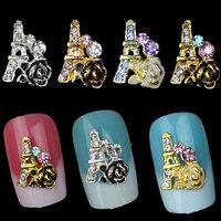 New Alloy Nail Art Decoration,10pcs/lot Rhinestone Glitter Rose Tower  Designed Nail Accessories,DIY Nail Beauty Jewelry Tools