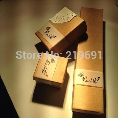 Wholesale 24pcs/Lot Kraft Ring Box /Jewelry Box /Earring BOX /Necklace Box Custom Logo Moq :500 pcs Will Cost Extra For Logo(China (Mainland))