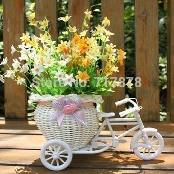 Белый трехколесный велосипед дизайн цветок корзина контейнер для хранения ну вечеринку Weddding бесплатная доставка