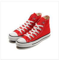 free shipping high quality Women's men's canvas shoes high style red color