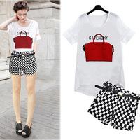S-XXL 2014 New European Women's Sets Chiffon T-shirt + Skirt Paris Fashion Cool Leisure Suits For Lady Free Shipping