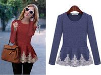 Western Lace Long Sleeve Lady Knitwear T-shirt Fashion New Spring O-neck Puff Sleeve Slim Women Tops