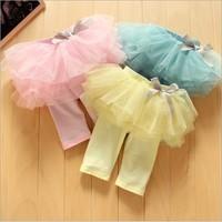 Retail hot sale baby girls summer leggings with tutu skirt kids princess bow Fifth pants yellow pink blue 1607