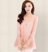 free shipping!New 2014 womens Openwork chiffon shirt  blouse lace