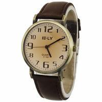 2014 Hot Sale Brown Men Women Boy Girl's Watch Business Dress Quartz Watch PU Lether Band Wristwatches Free Shipping