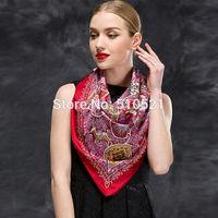 top fasion red life tree muslim hijab / square silk scarf 90x90cm / women head scarf free shipping