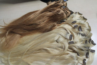 "100% huamn hair extension single clip in hair extension in stock  613#  and  12# in stock   16""  1.15"""
