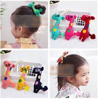 Free Shipping! 12pcs/lot Cute Baby Hair Accessories Children Hair Clips Barrettes Cotton Giraffe Muilticolor Hairpin FJ-14006