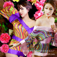 New Women Sexy Rainbow Neon Colors Striped Bow Satin Geisha Kimono Costume Robe Pajama Sleepwear Baby Dolls