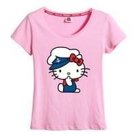 free shipping / cute hello kitty wear a navy suit pure cotton casual shirt women's clothing oversize t shirt men