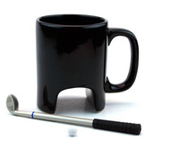 Free shipping creative sport black golf  ceramic coffee mug cups with pen and ball, novelty gift, couple mugs