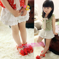 [retail] kids all match clothing girl summer lace flower shorts white fashion short for children 480
