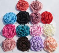 Free Shipping Wholesale Girls Baby Rolled Rose Satin Flower,60pcs/lot