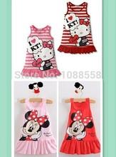 nova 2014 meninas crianças roupas minnie mickey mouse bonito vestido, vermelho e rosa roupas mini, olá kitty meninas vestir roupas(China (Mainland))