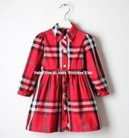 100- 140 cm girl dress brand plaid dresses for girls 12 years autumn dress girl England kids dresses for girls children clothes