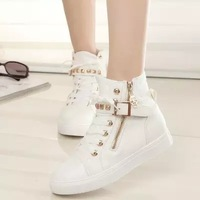 Spring 2014 new Womens casual black blue white boots zipper canvas sport buckle rivet Sneakers shoelace anti-slip shoes