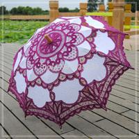 Purple Vintage Battenburg  Chinese Embroidered Art Lace Parasol Sun Umbrella Wedding Bridal Party Decoration Free Shipping