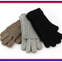 2014 New Fashion Women Gloves Winter 2  Piece ladies' glove Brown Black Gray Cotton Knitted Gloves Spring Autumn Free Shipping