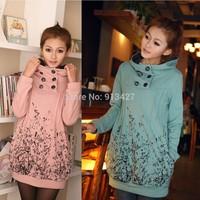 2014 Autumn/Winter Korean version double-breasted hoodies maternity long sleeve thick flannel hoodies pregnant women sweatshirt