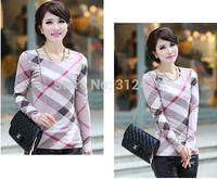 2014 women's spring autumn round neck embroidery Logo long-sleeve T-shirt basic shirt ladies fashion plaid T shirt size L-XXXL