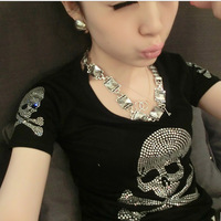 New 2014 Summer Plus Size Women Clothing T-shirt Female Short Sleeve Cotton Diamond Skull T shirt Women M-XXXL Free Shipping