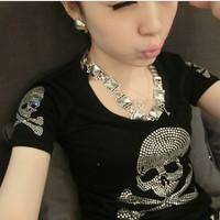 New 2014 Summer Plus Size Women Clothing T-shirt Female Short Sleeve Cotton Diamond Skull T shirt Women M-XXXL Free Shipping