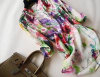 Summer women's 2014 flower unique watercolor print adjustable linen shirt