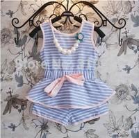 2 pcs/set 2014 summer female child set Children's clothing child fresh stripe vest shorts twinset sleeveless + pants