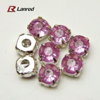 Wholesale 100PCS 8mm Purple Sew On Rhinestones Crystal With Metal Findings Flatback Free Shipping