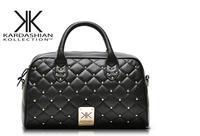 Fashion high quality handbags Kardashian kk plaid rivet shoulder bag handbag messenger bag women's handbag work bags