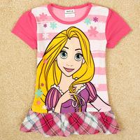2014 Summer New Avatar Cartoon Striped Letters Printed Round Neck Short Sleeve Dress Princess Dress For Girls