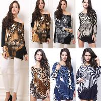 Vestido Vestido De Festa Women Dress Women's Dress Korean Style Tiger Picture Was Thin Long-sleeved Drilling Hot Sale New 2014
