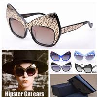 Anna -fashion wild style sun glasses Karin domineering Tide sunglasses cool Karlsson detonation model Cat ear With Original Box
