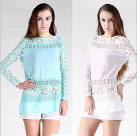 New Arrival  Hot  Free shipping 2014 Vintage-inspired Women  Crochet Lace  Blouse Shirt Top