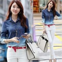 New 2014 Spring Women Denim Shirt Long Sleeve Cotton Blouse Girls Plus Size Gradient Pattern Fashion Jean Blusas Femininas