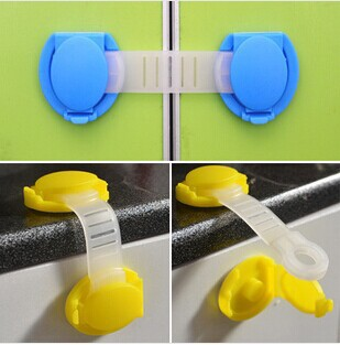 10pcs/lot 10cm Cute Bendy Door Drawer Safety Lock For Child Kids Baby Safety Lock Blue Yellow with 3M Free Shipping(China (Mainland))