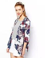 2014 New fashion Europe women elegant color printing  half kimono jacket coats Lady casual brand design outwear #J092