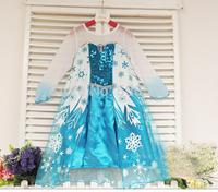 5pcs/lot,Hot Frozen Queen Girl Elsa Dressing Princess Ballgown Snow Print Dress For 3-8 Year Kid Girl,wholesale