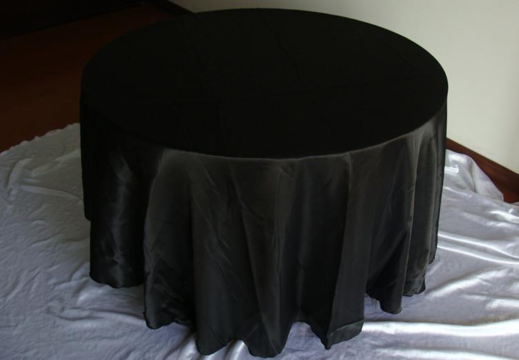 "free shipping 10pcs round 108"" black polyester table cloths(China (Mainland))"