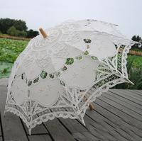 "Free shipping Romantic 32"" Fashion Embroidered Lace Parasol Vintage Sun Umbrella Wedding Bridal Bride Birthday Party Decoration"